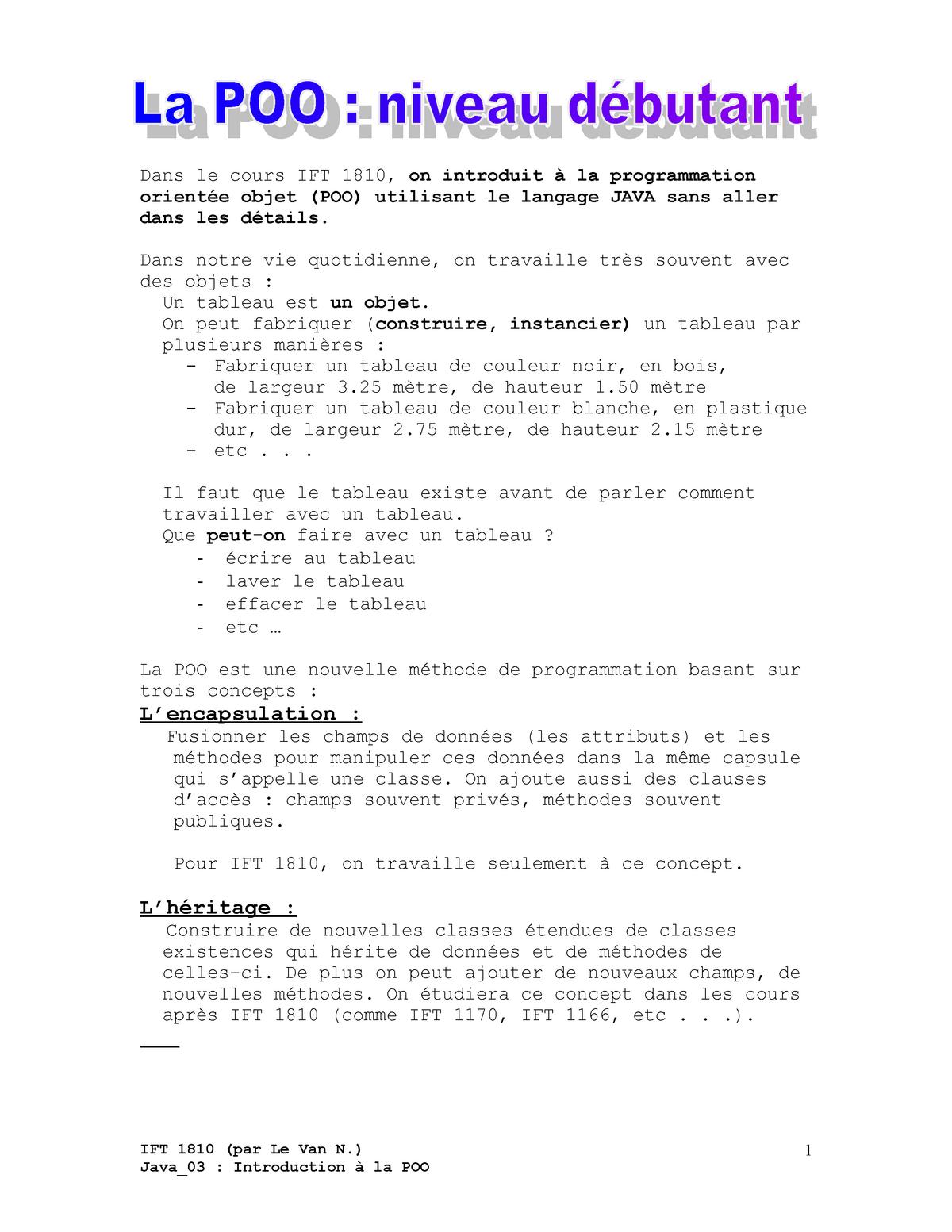 ac741cbbbe6 Java 03 - Notes de cours 1 - IFT1810  Introduction a la programmation -  StuDocu