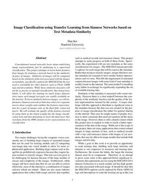 Image classification using transfer learning from siamese networks