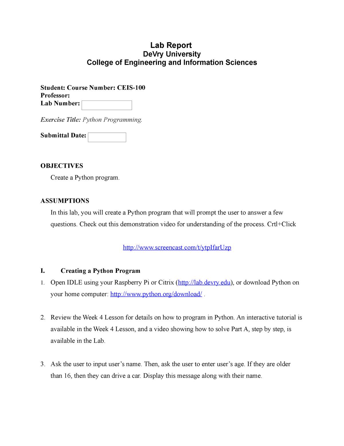 Lab04 - Python Programming  - CEIS100 - StuDocu