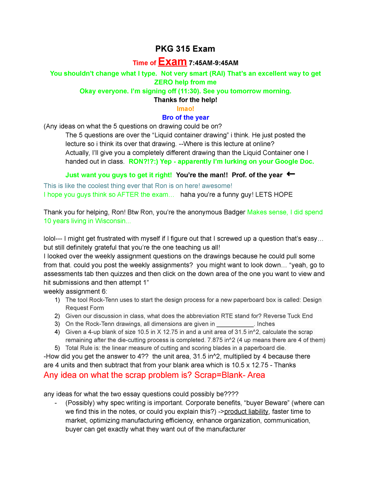 Tutorial work - final exam study guide - PKG 315: Packaging