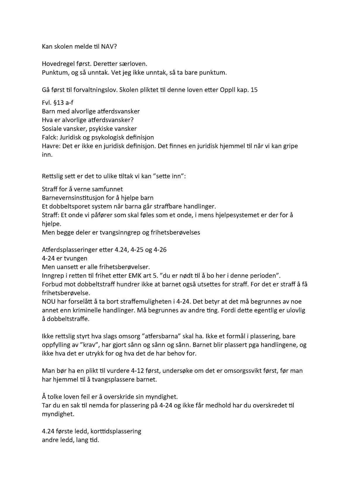 cf8cce4f 17.01. - jus - MEd Merete Havre om jus i institusjoner - BVUH2400: 2B.  Utsatte barn og unge i ulike institusjoner - StuDocu