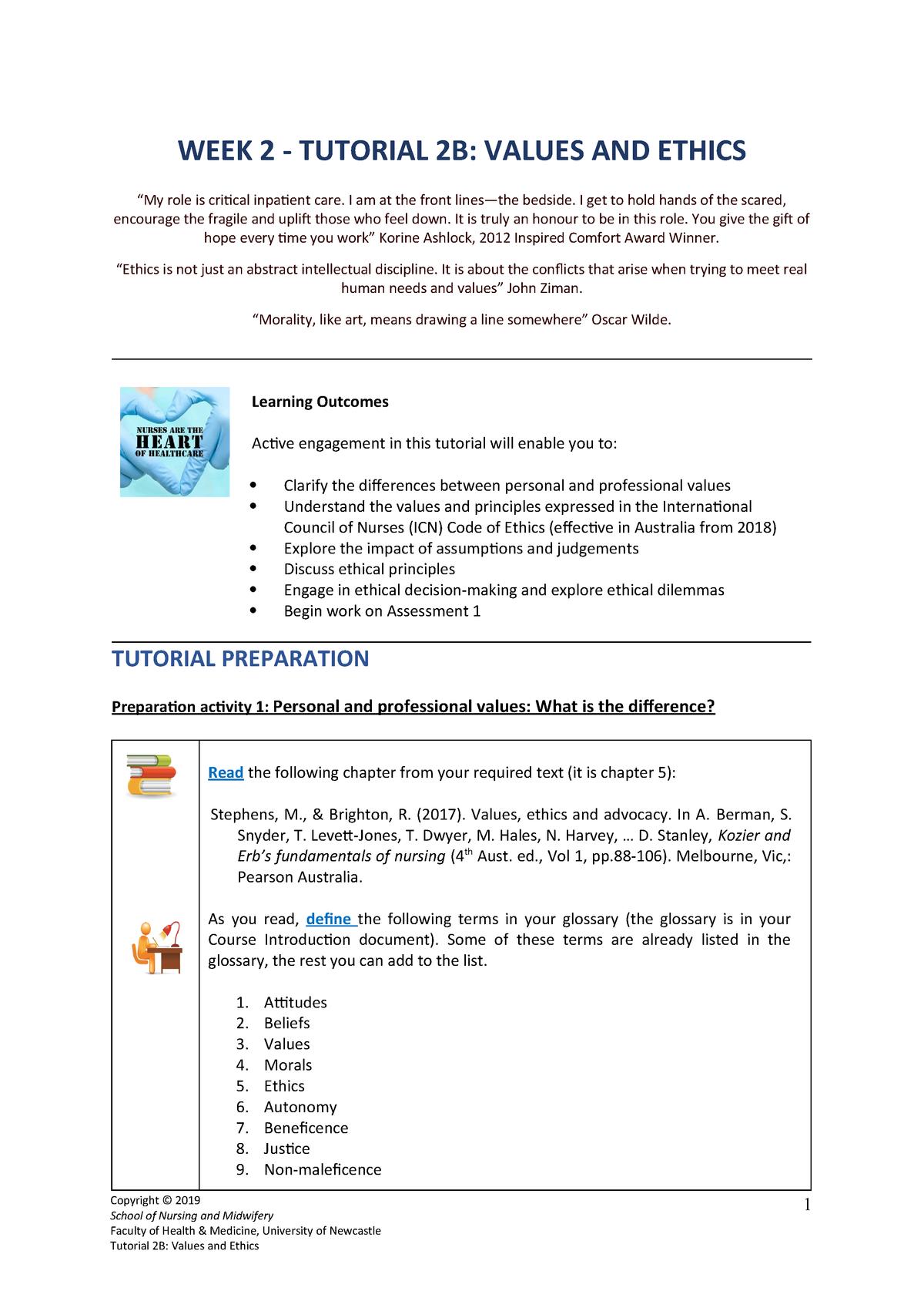 Week 2 Tutorial 2b Nursing Nurs1101 Uon Studocu