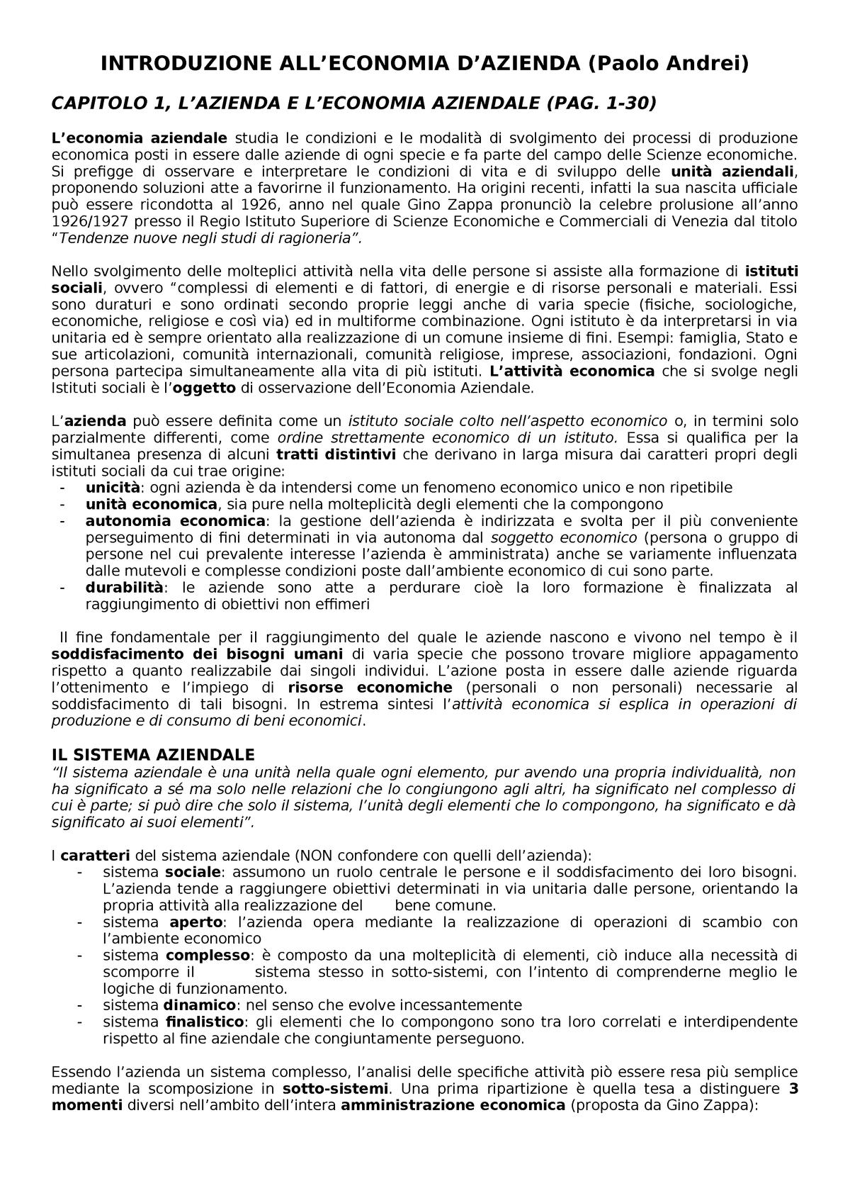 a0f2819cc3 Riassunto Introduzione all'economia d'azienda 25 Apr 2018 - StuDocu