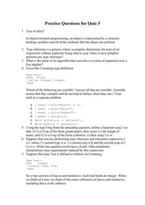 Practice Questions for Quiz 5 - CSCI 3675: Organization Of