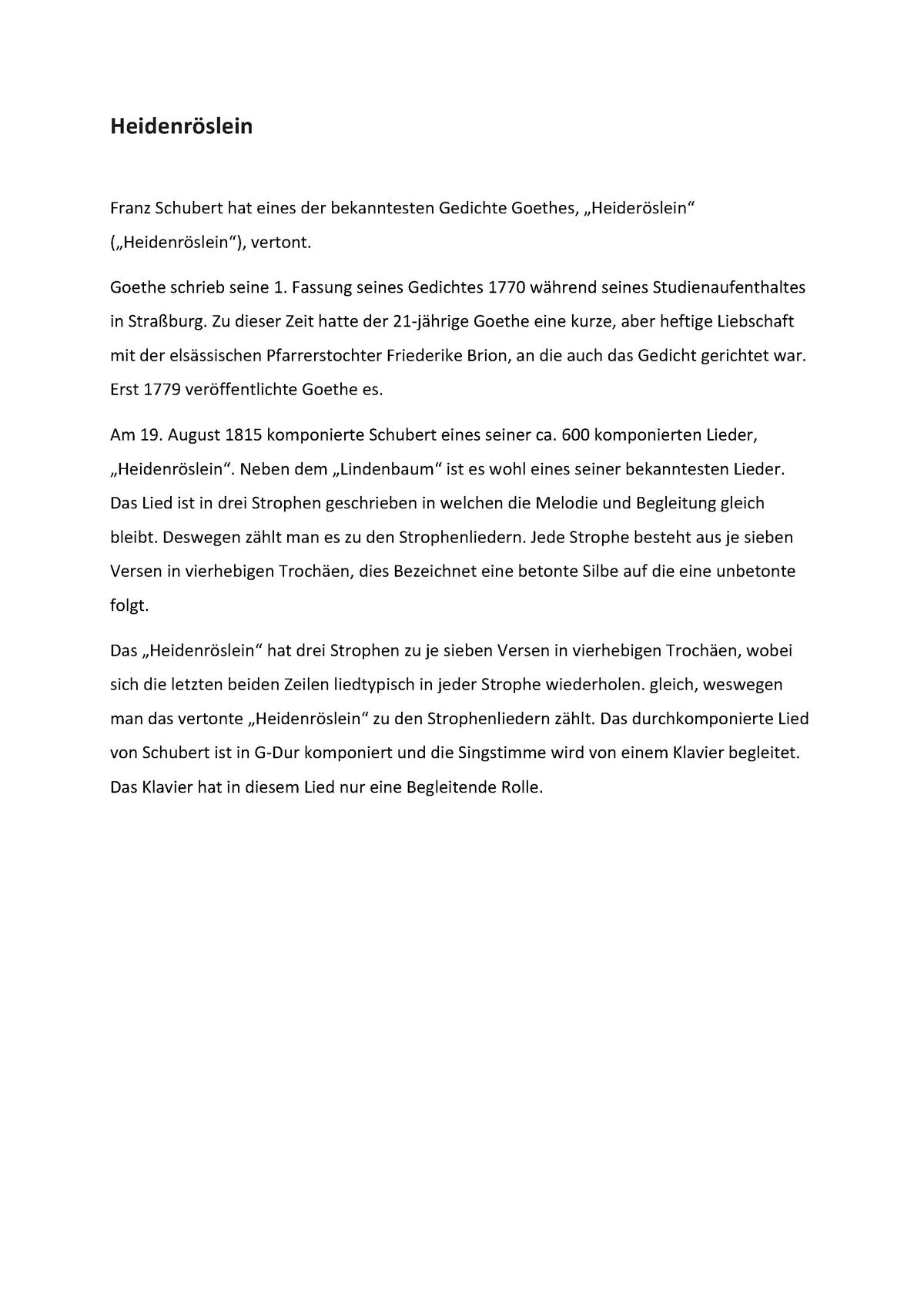 Heidenröslein Analyse 160001 Uni Wien Studocu
