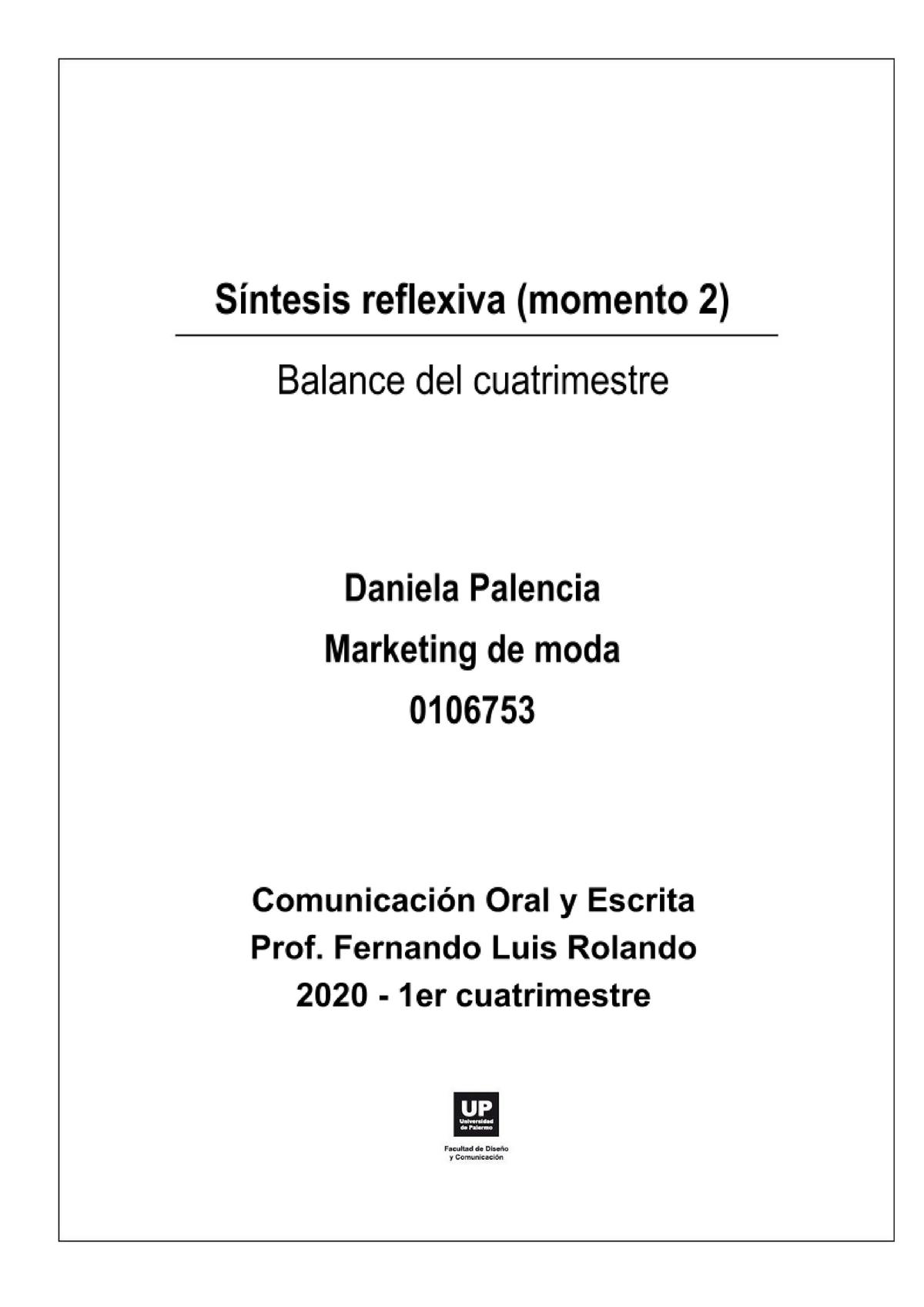 Síntesis Reflexiva Marketing Up Ntesis Reflexiva Momento Balance Del Studocu