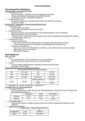 Thermoregulation - Zusammenfassung Anatomie und Physiologie des ...