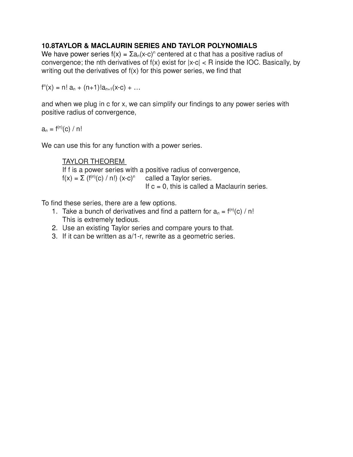 10 8 and 10 9 Taylor Series - MATH 1272: Calculus Ii - StuDocu