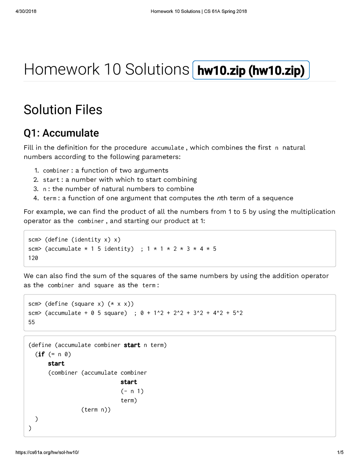 Homework 10 Solutions CS 61A Spring 2018 - COMPSCI 61A: The