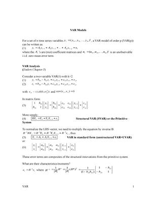 VAR - VAR Models - ECON 8240 Applied Macroeconometrics - StuDocu