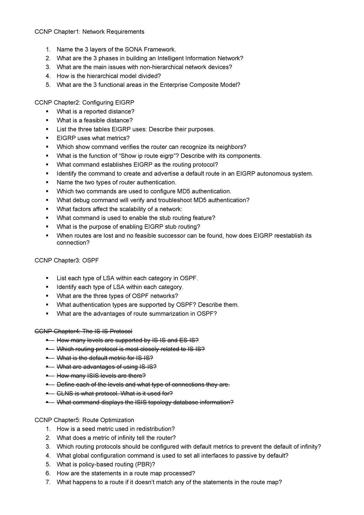 CCNP sample written exam questions - EEET2326: Scalable Internet