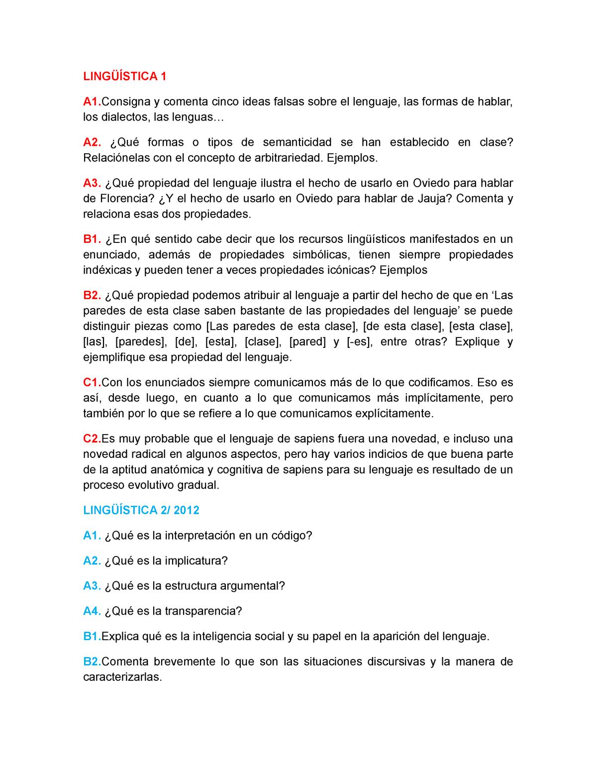 Examen 29 Mayo 2018 Preguntas Lingüística Uniovi Studocu