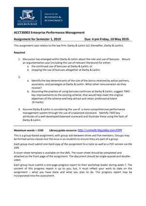 EPM2019 sem1Assignment Tasks - ACCT30002: Enterprise