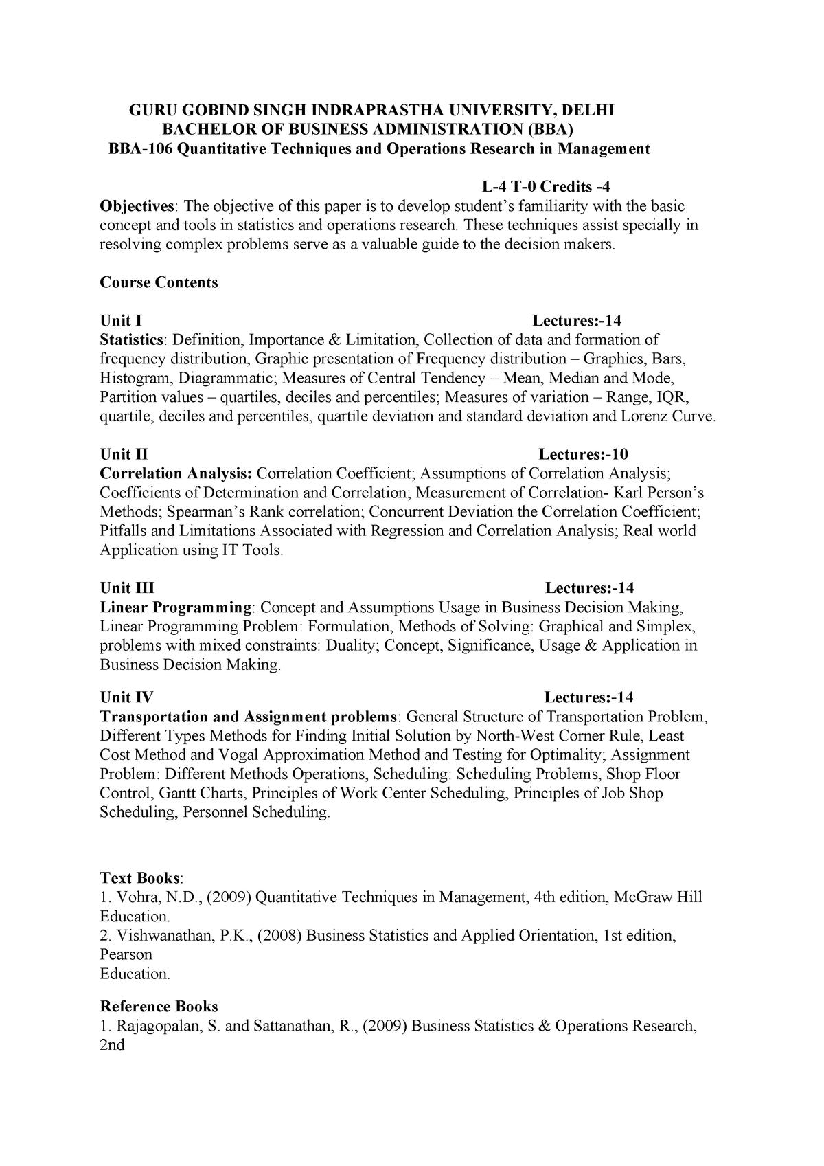 QTOR Syllabus - BBA NOTES - BBA: Bachelors of Business