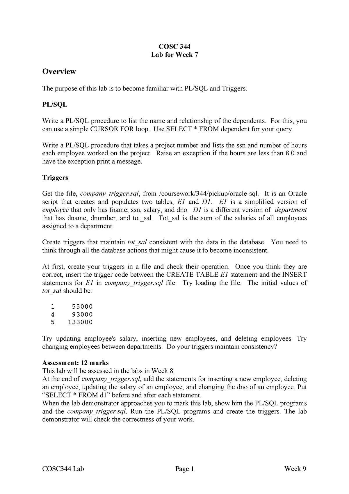COSC344 2017 Lab 6 - PL-SQL & Triggers - COSC344: Database