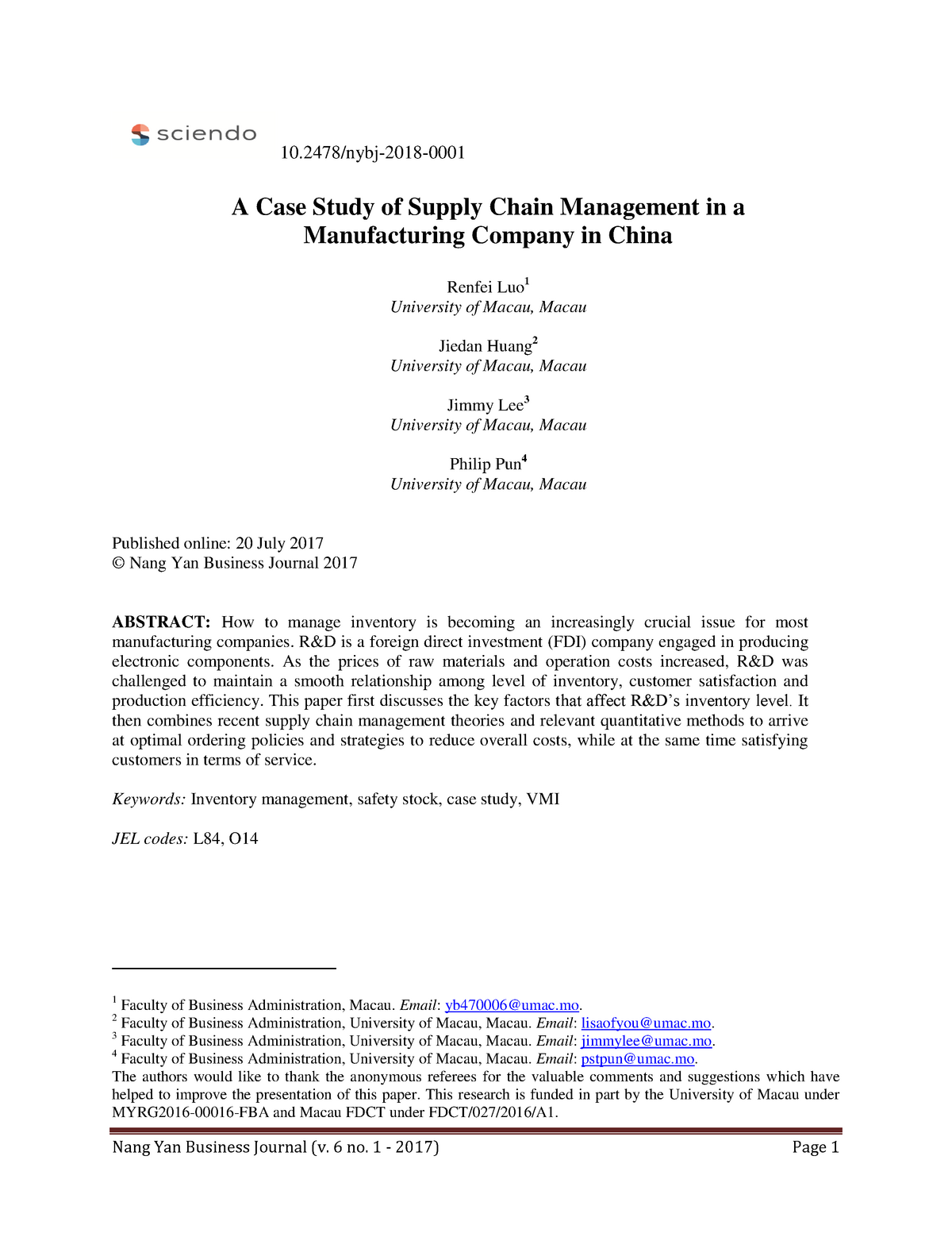 A Case Study of Supply Chain Management in a Manufacturing Company