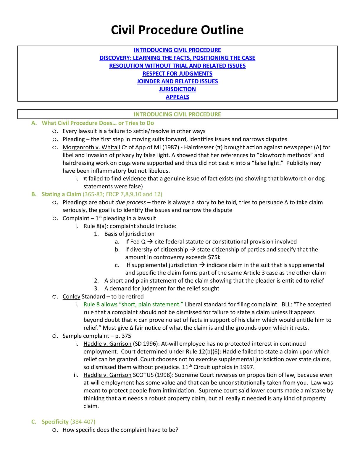 Civil Procedure Notes And Outline - LAW 510 - U-M - StuDocu