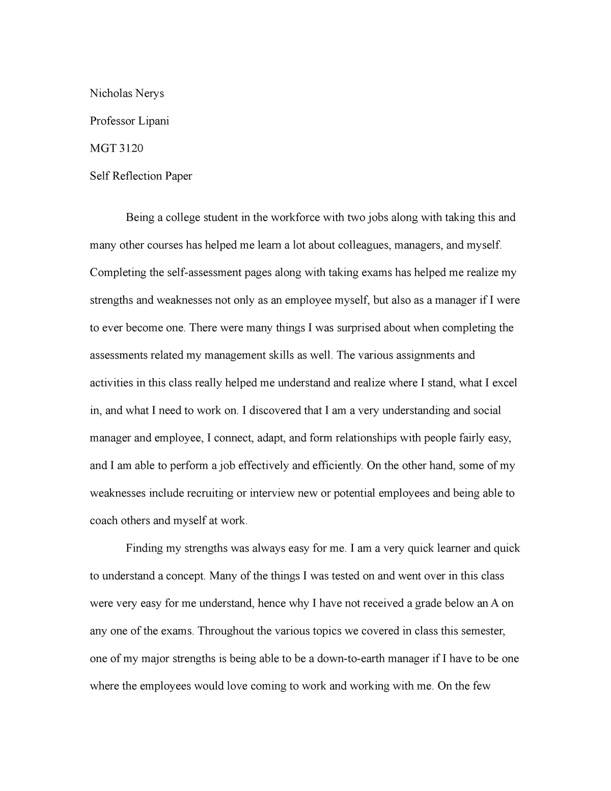 Custom Term Papers And Essays  Important Of English Language Essay also Personal Essay Thesis Statement Mgt  Selfreflection Paper  Mgt   Baruch College  English Class Reflection Essay