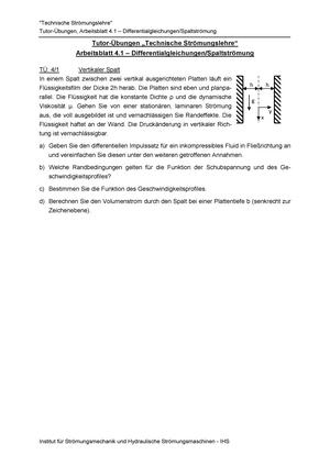 AB4-1 Aufgaben - 3604061: Technische Strömungslehre - StuDocu