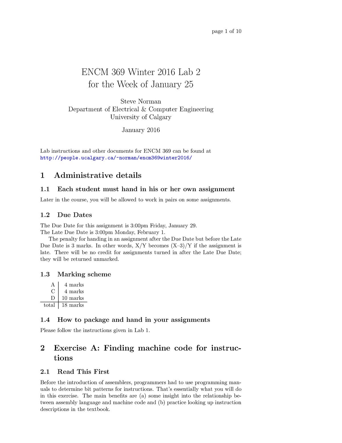 Seminar Assignments - Lab 2 - ENCM 369: Computer Organization - StuDocu