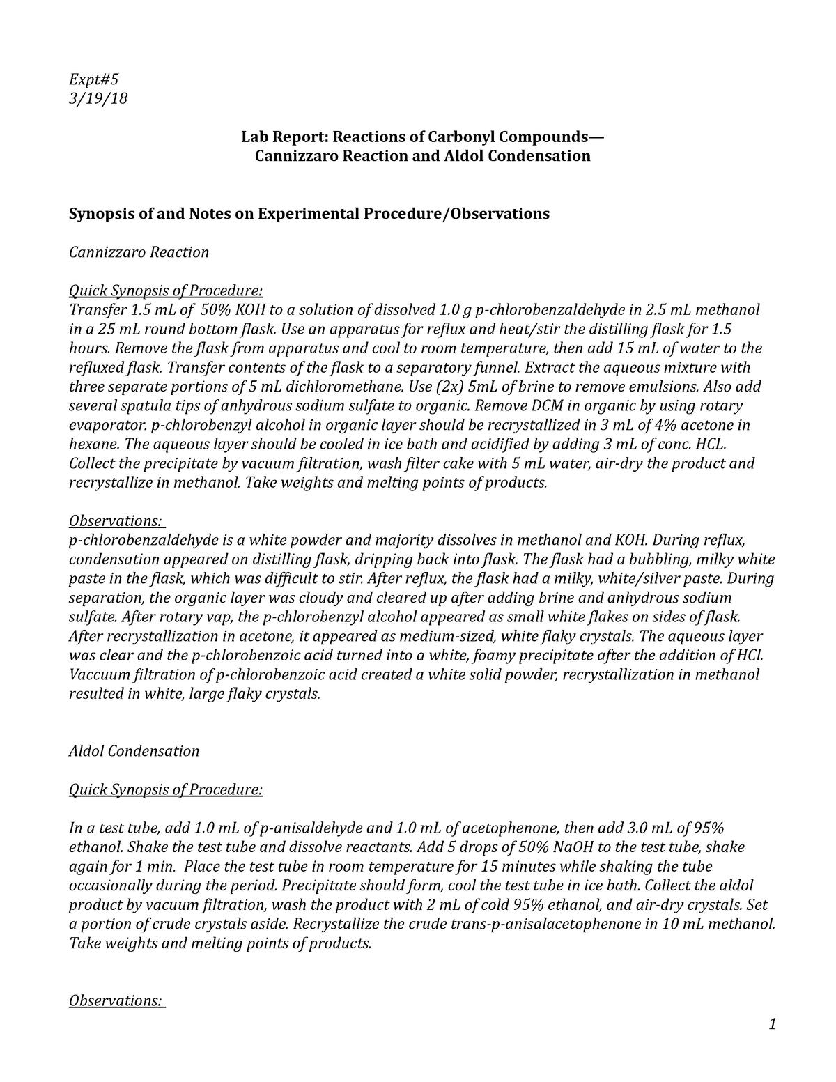 aldol condensation lab report abstract