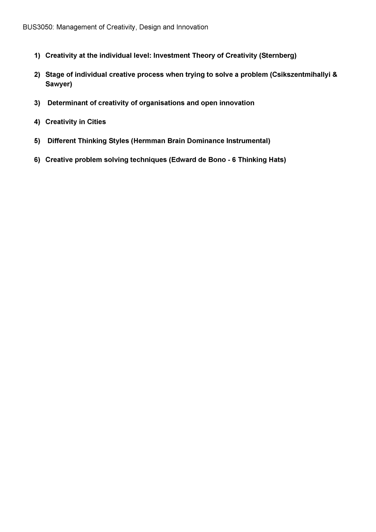Innovation Revision - Lecture notes 1-12 - BUS3050
