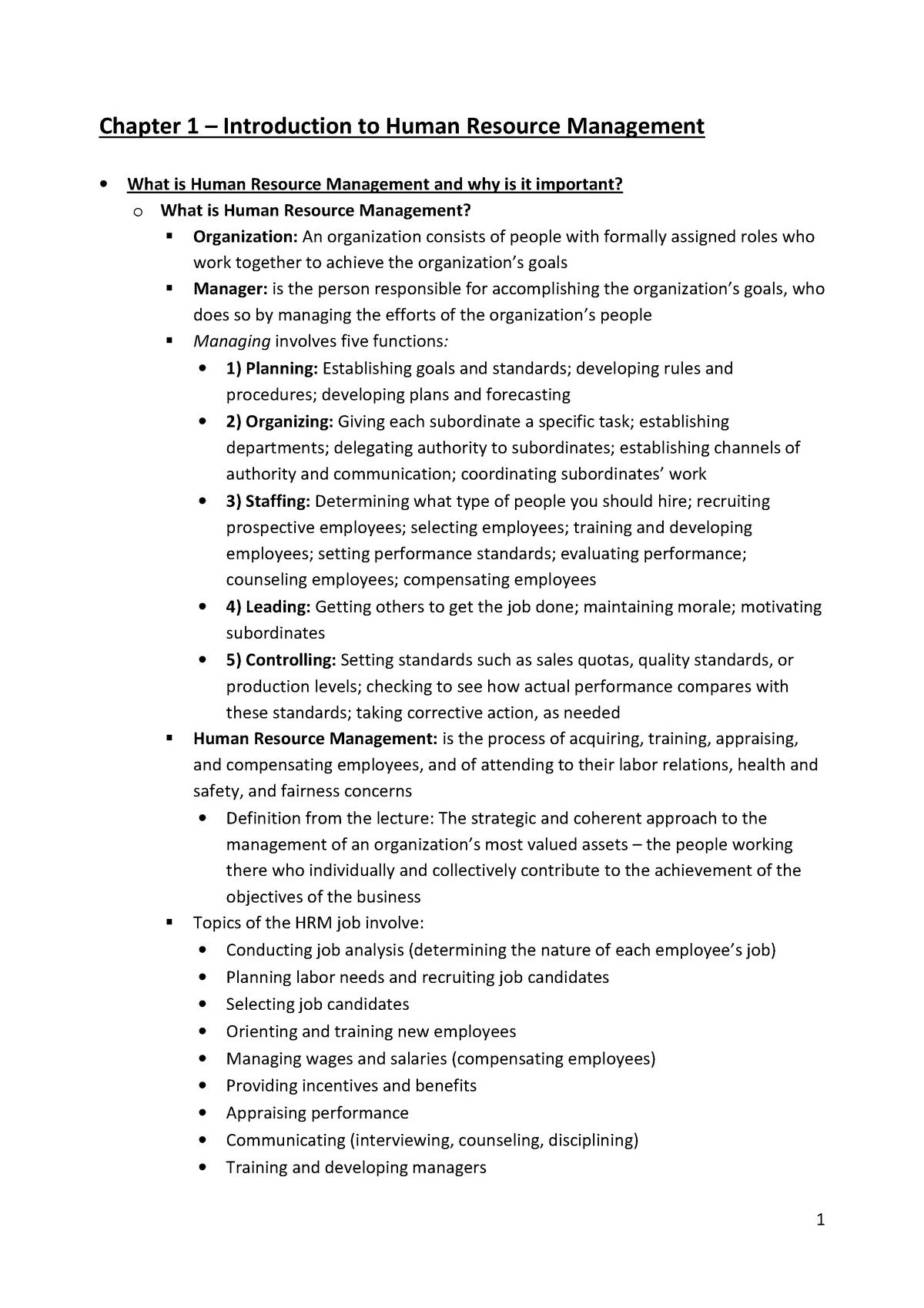 Summary Human Resource Management, H1-18 - P_BHRMANA