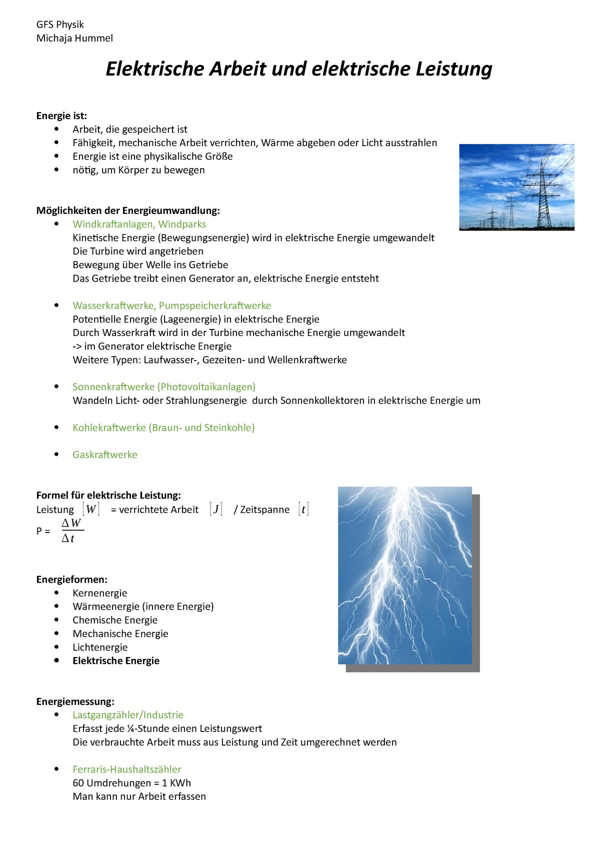 Physik GFS Handout   Elektrische Arbeit und elektrische Leistung ...