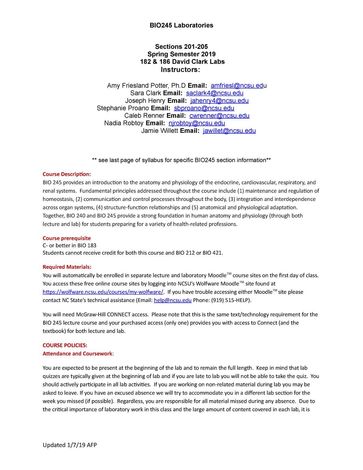 Ncsu Academic Calendar.Bio245 Lab Syllabus Spring 2019 Final Bio 245 Principles Of Human