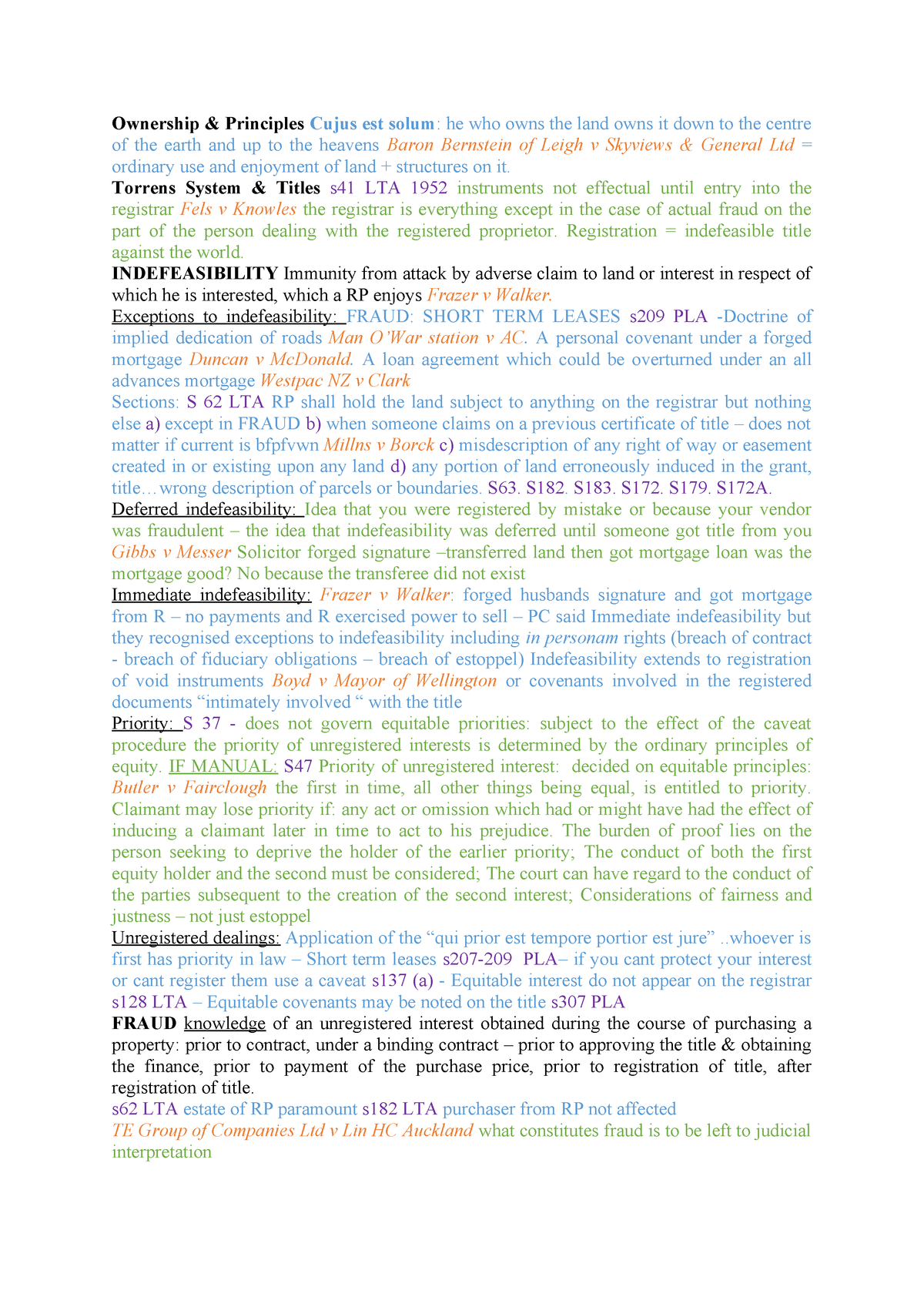 Property Cheat Sheet - Lecture notes 1-24 - LAWS604: Real