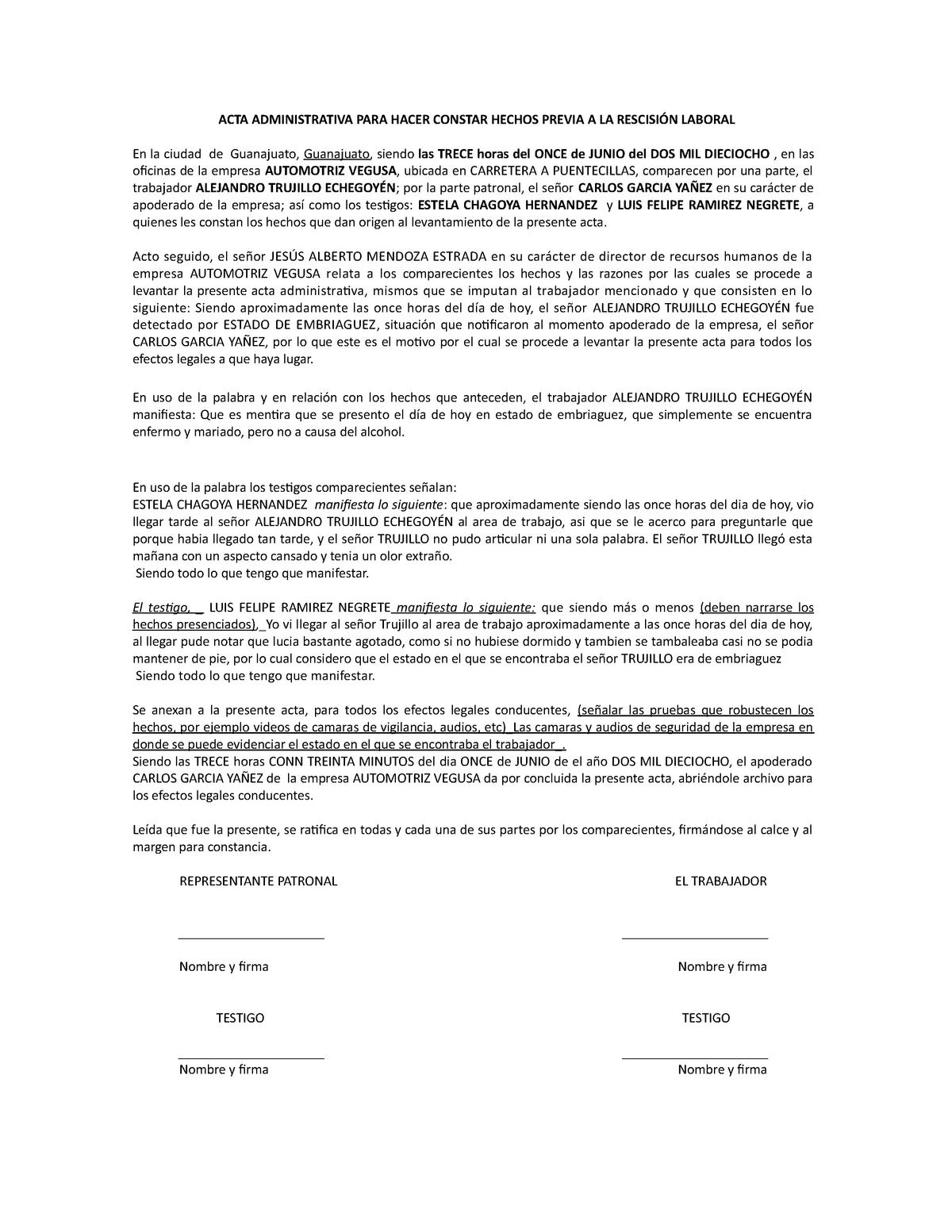 Acta Administrativa Previa A La Rescisión 1180 Jr151296