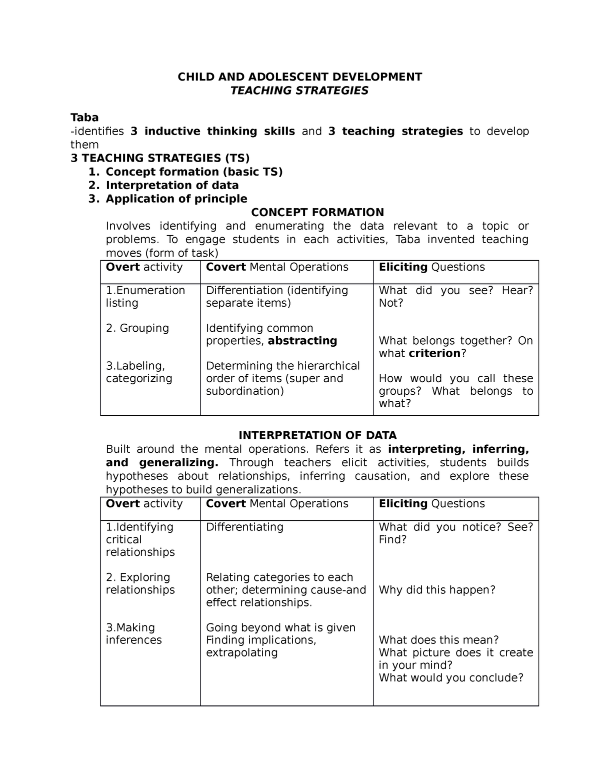 Child And Adolescent Development (Teaching Strategies) - StuDocu
