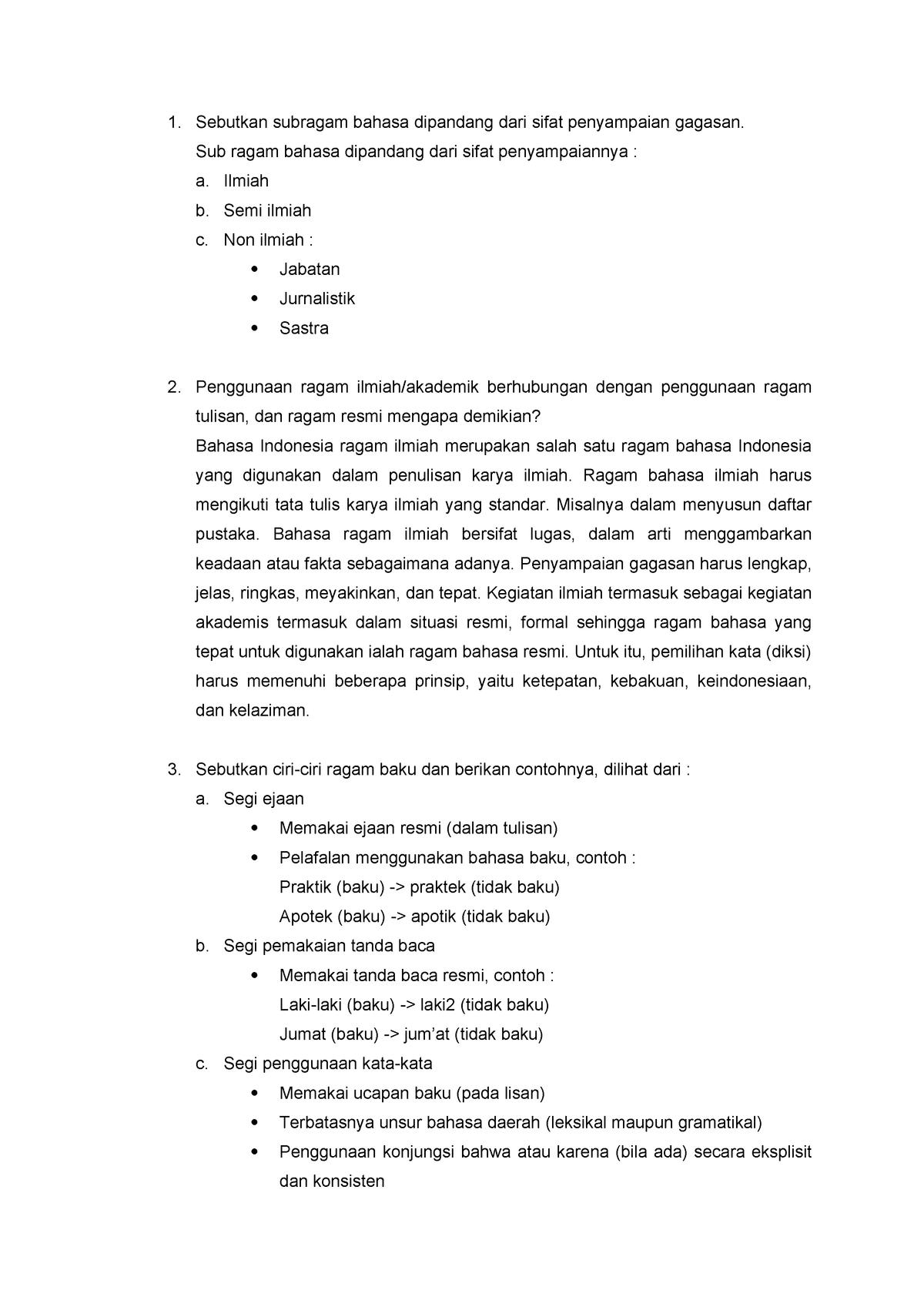 Soal tentang Ragam Ilmiah - UNDIP - StuDocu