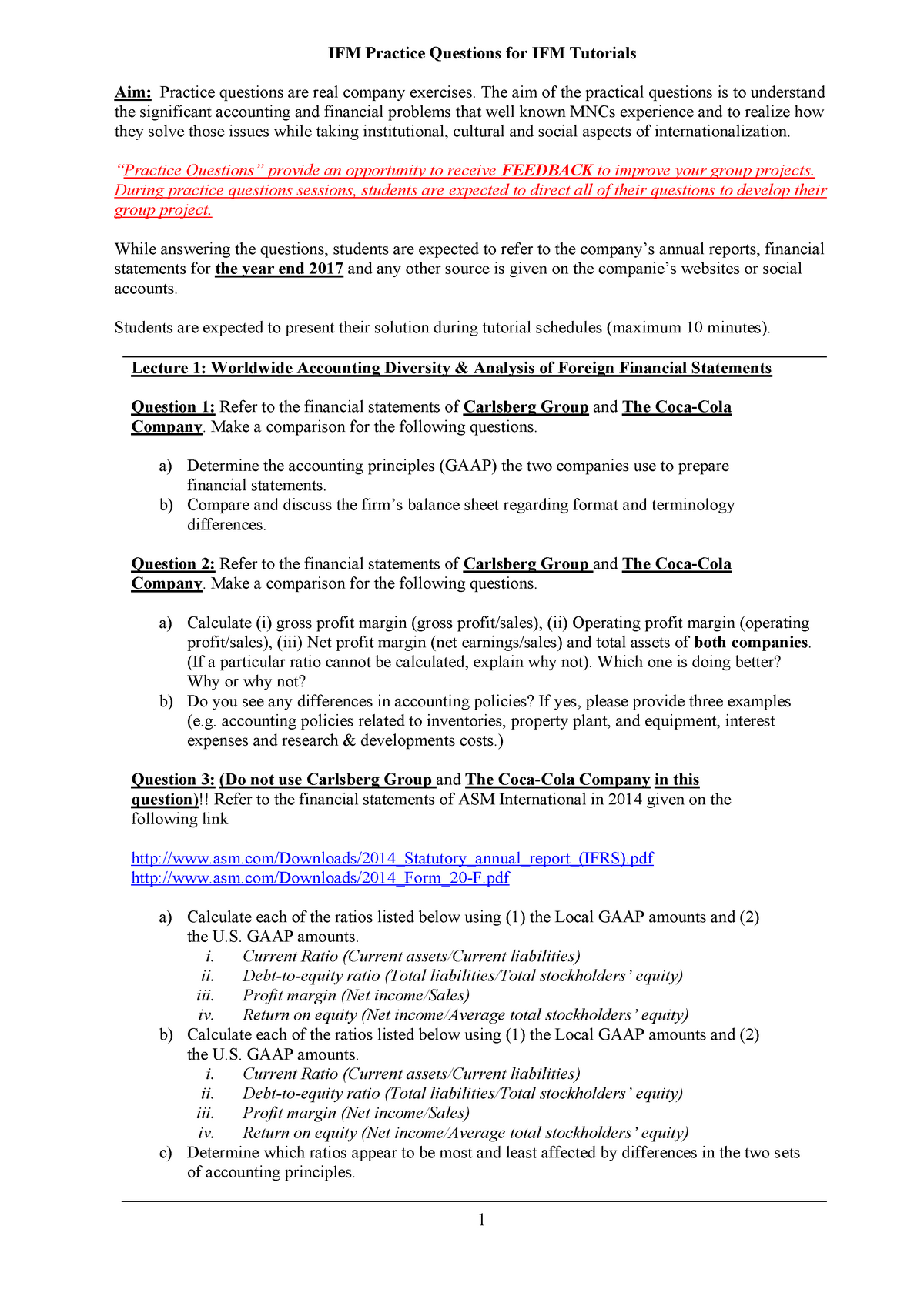 IFM Practice Questions 2018-2019 2b - EBB627A05 - RUG - StuDocu