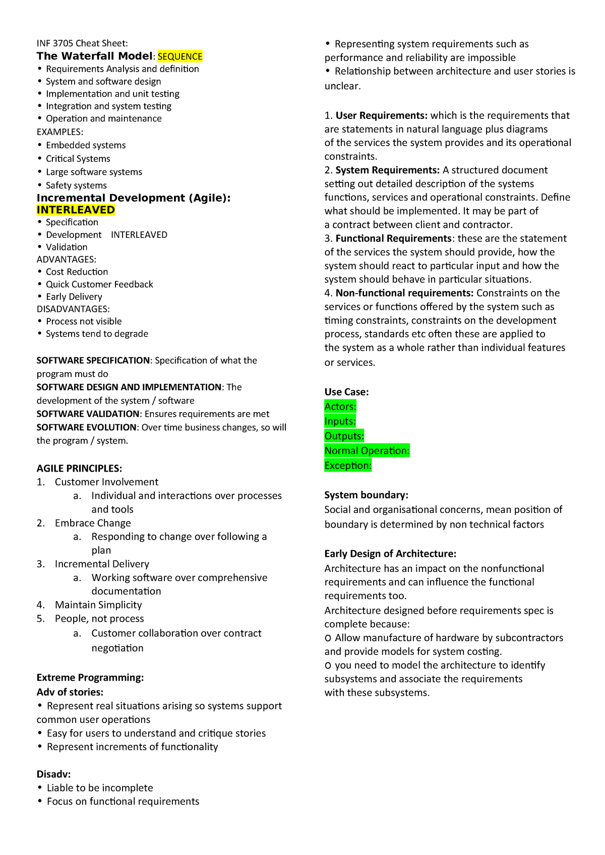 Inf 3705 Cheat Sheet Summary Software Engineering Unisa Studocu
