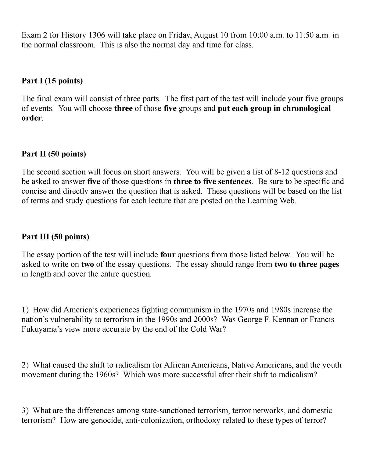 Review Sheet for Final - HIST 1306 - StuDocu