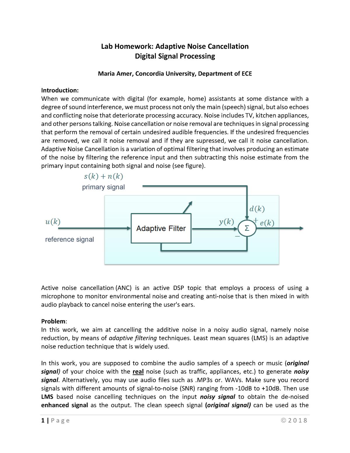 ELEC6601 Lab Homework - ELEC 442 Digital Signal Processing