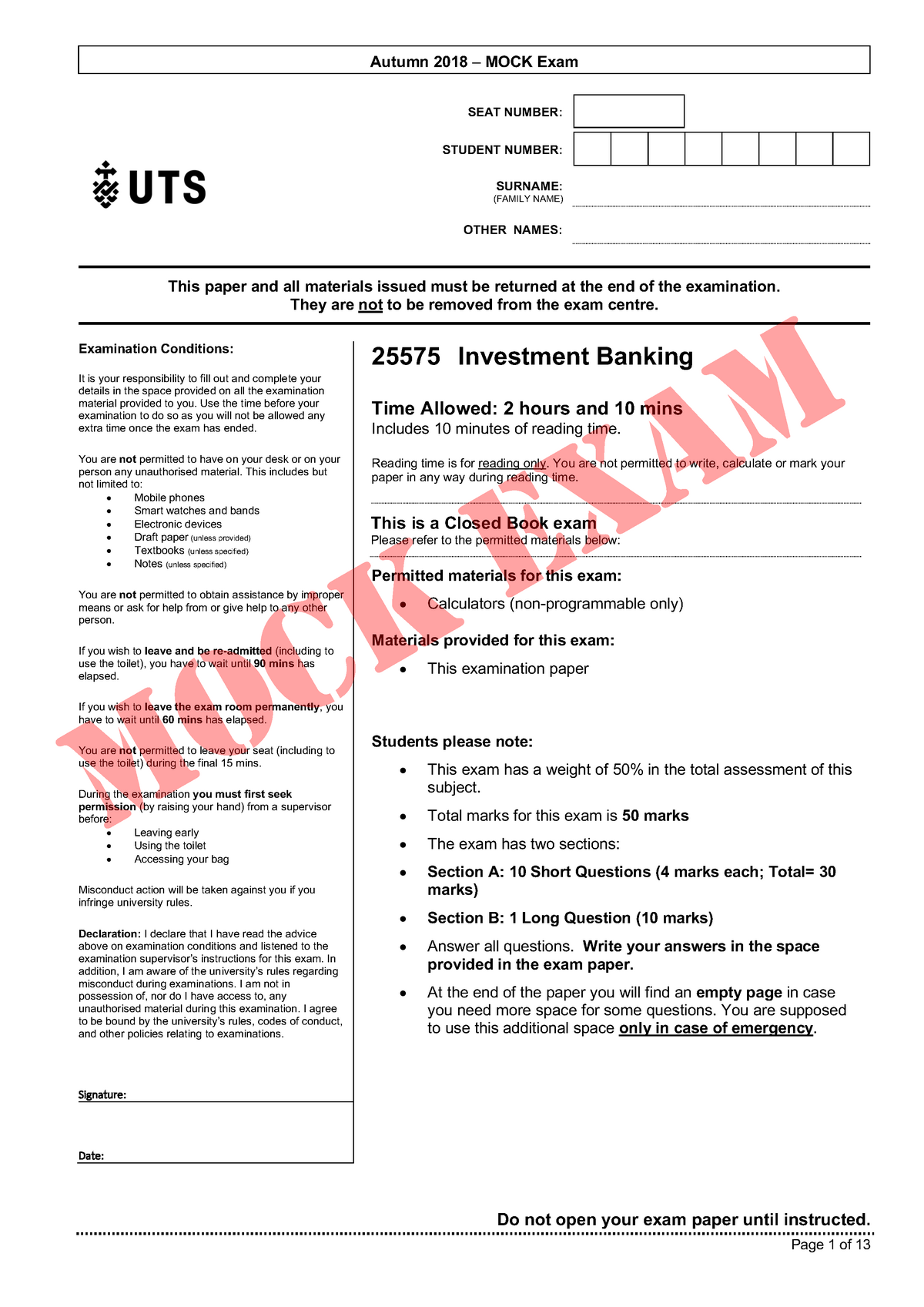 Exam 2018 - 025575 : Investment Banking - StuDocu