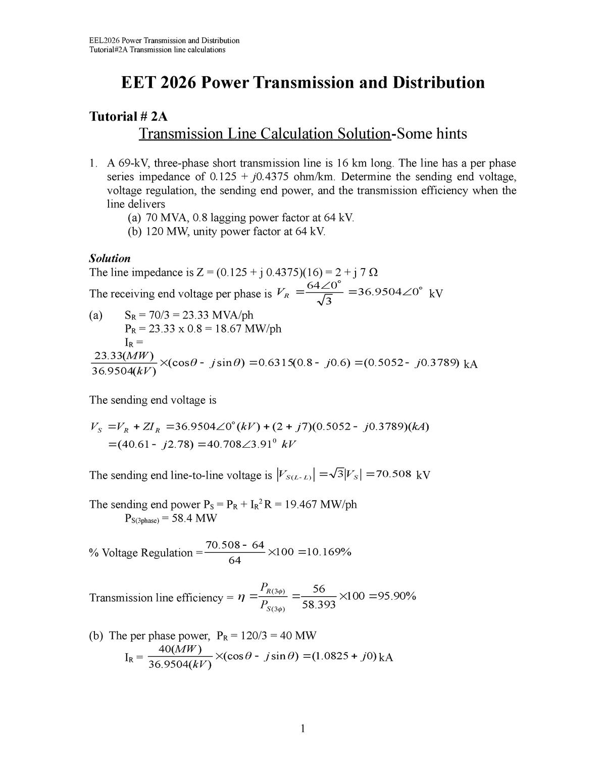EEL2026 Tut-2A Transmission Line Solutions - - StuDocu