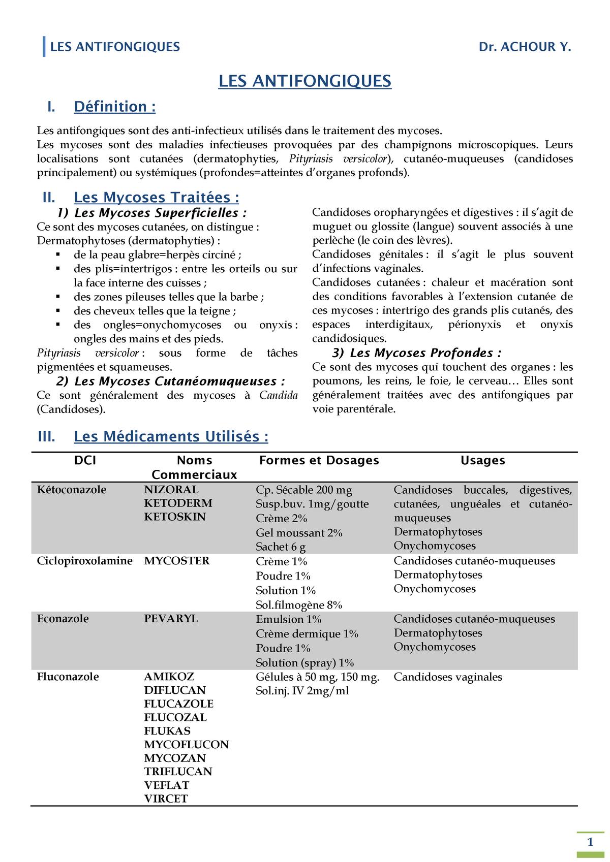 Les Antifongiques - Pharmacologie Pharmaco - StuDocu