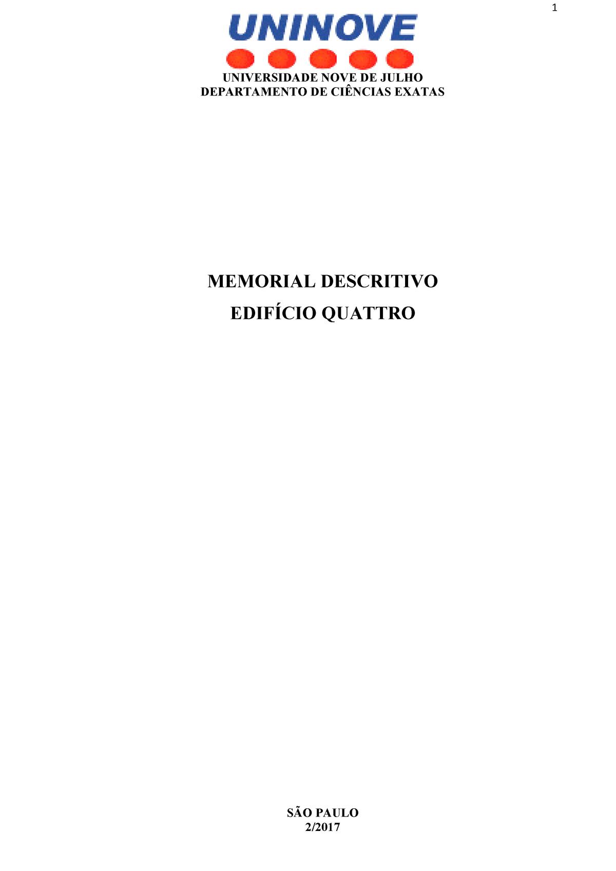 Memorial Descritivo Locação De Obra Engenharia Civil Studocu