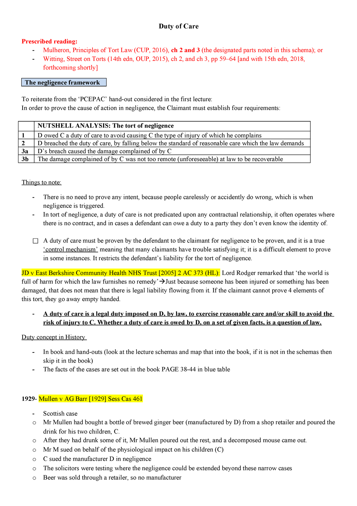 Notes 1- Duty of Care - Tort Law LAW5001 - QMUL - StuDocu