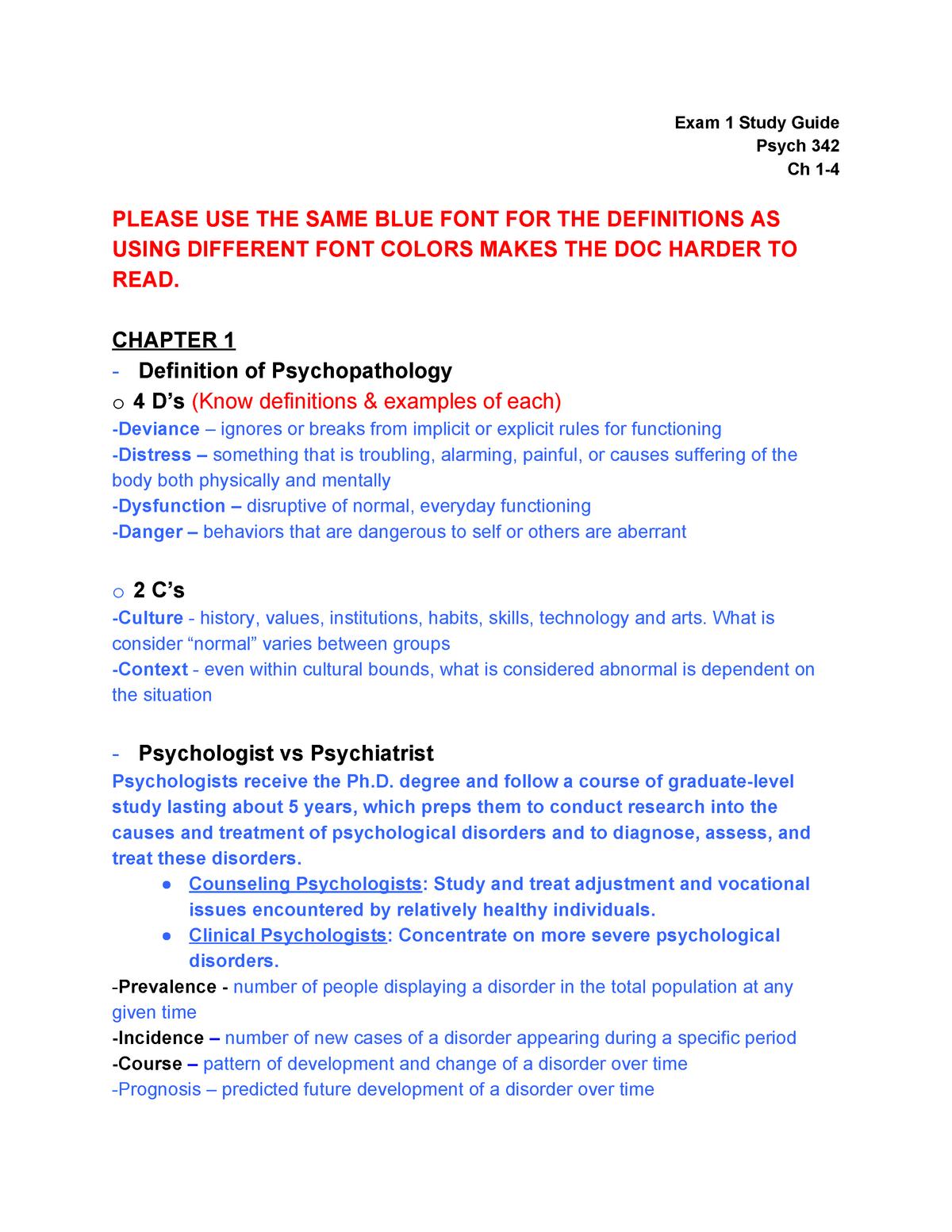 Ab Psych Exam 1 Study Guide Abnormal Psychology Psych 342 Studocu