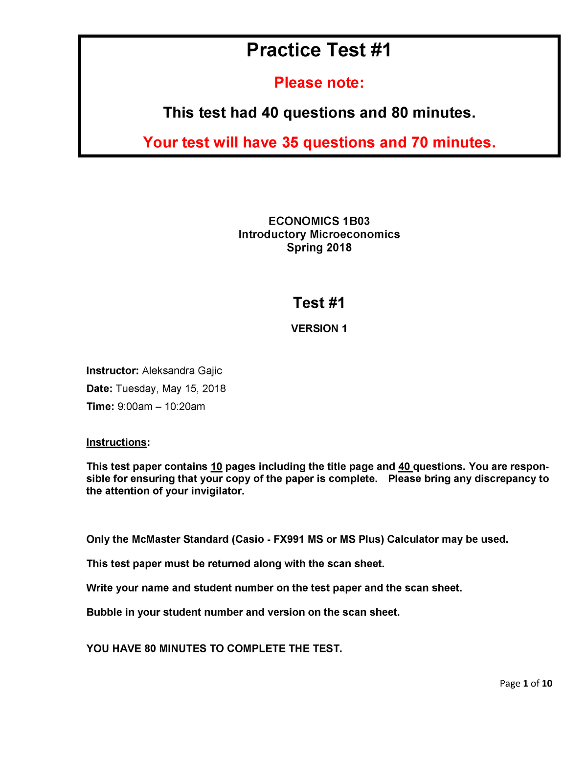 Practice Test for econ 1b03 - 1B03 Micro Econ - McMaster