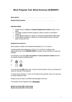 Sample/practice exam 2014, questions - Biomedical Science