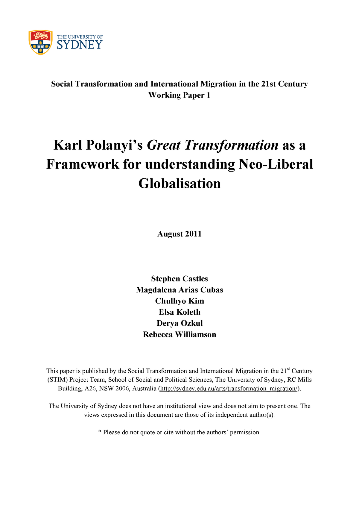 The great transformation as a framework for understanding - StuDocu