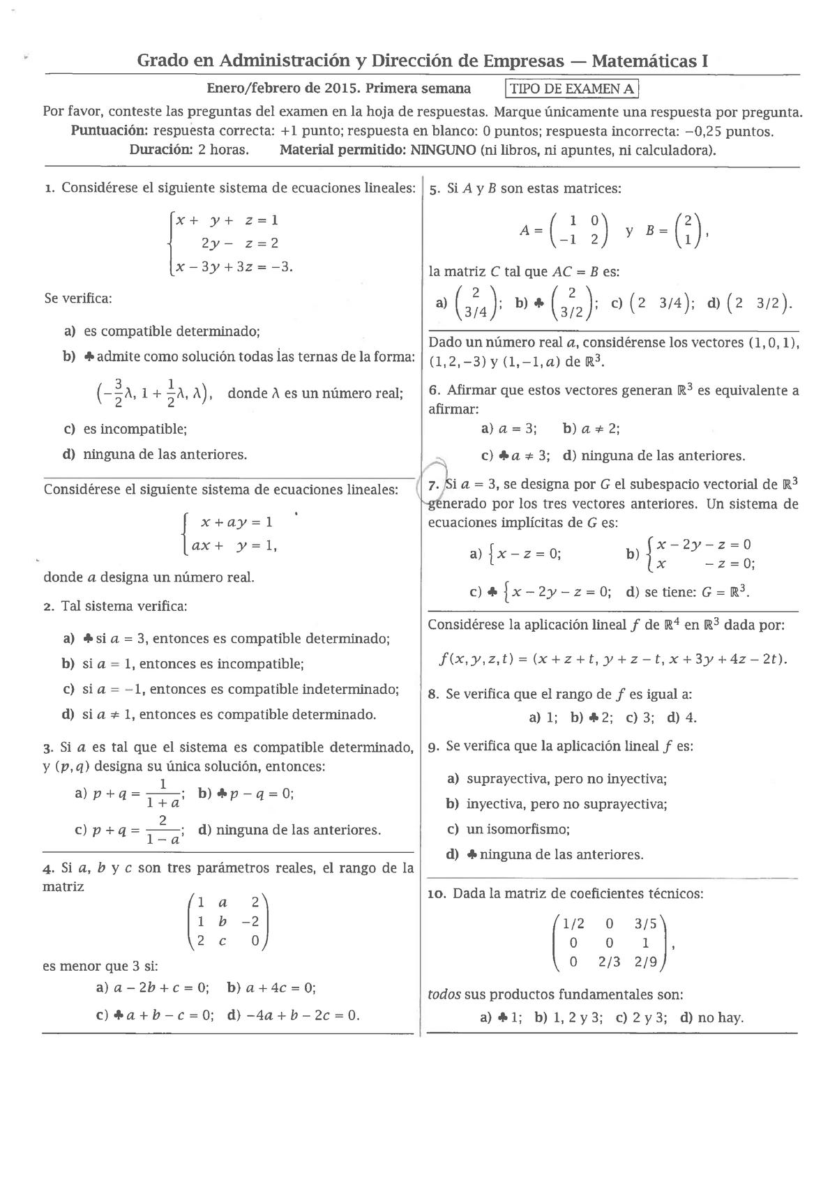 Examen 9 Febrero 2015 Preguntas Y Respuestas Studocu
