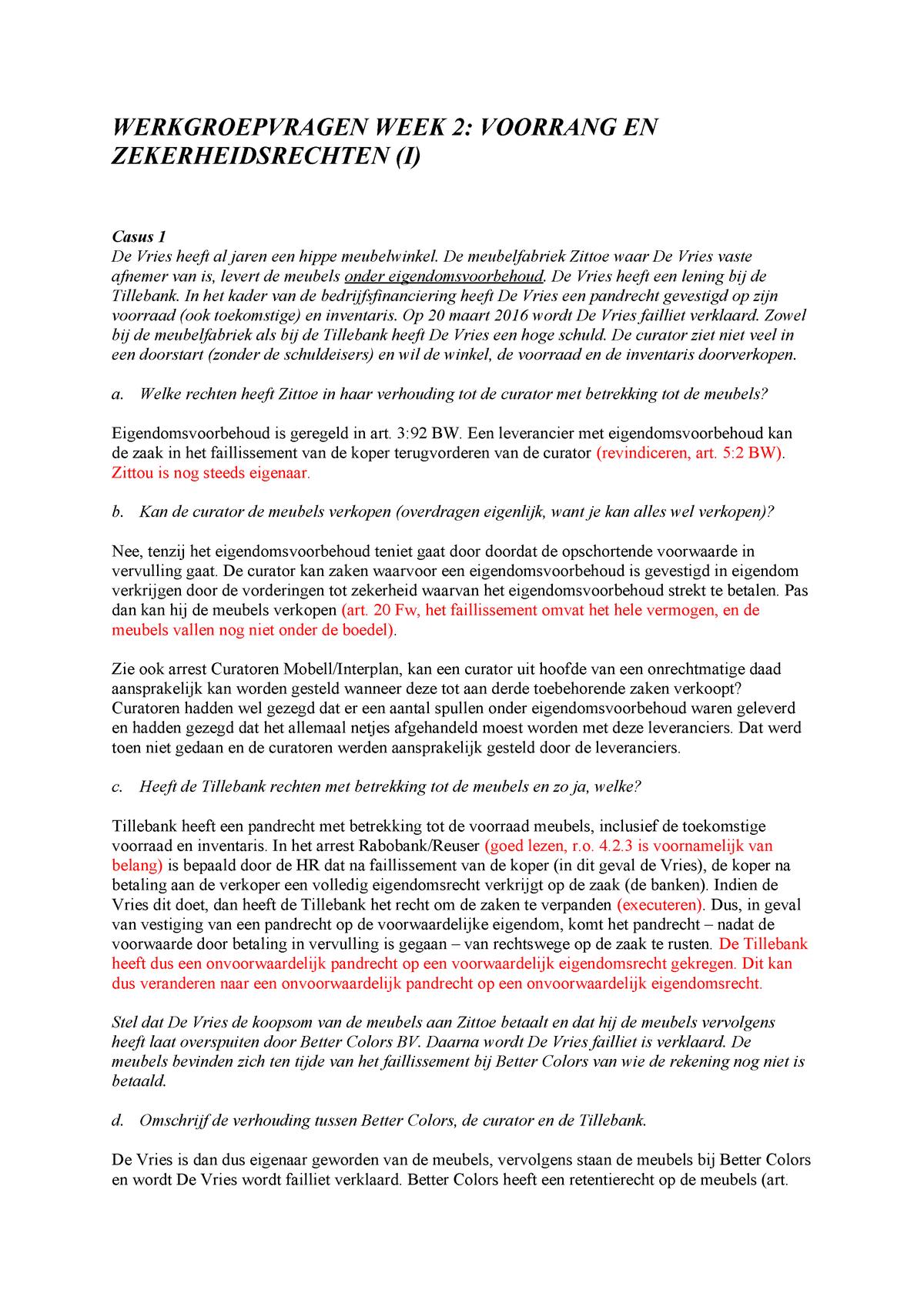 Faillissement Verkoop Meubels.Wg 2 Werkgroep Uitwerkingen Week 2 Insolventierecht
