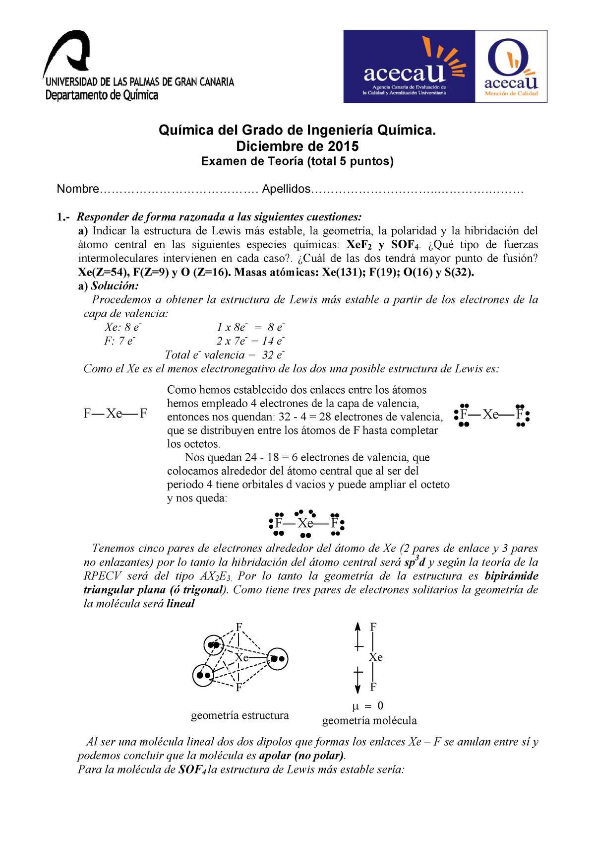 Examen Febrero 2015 Preguntas Y Respuestas Química 42704
