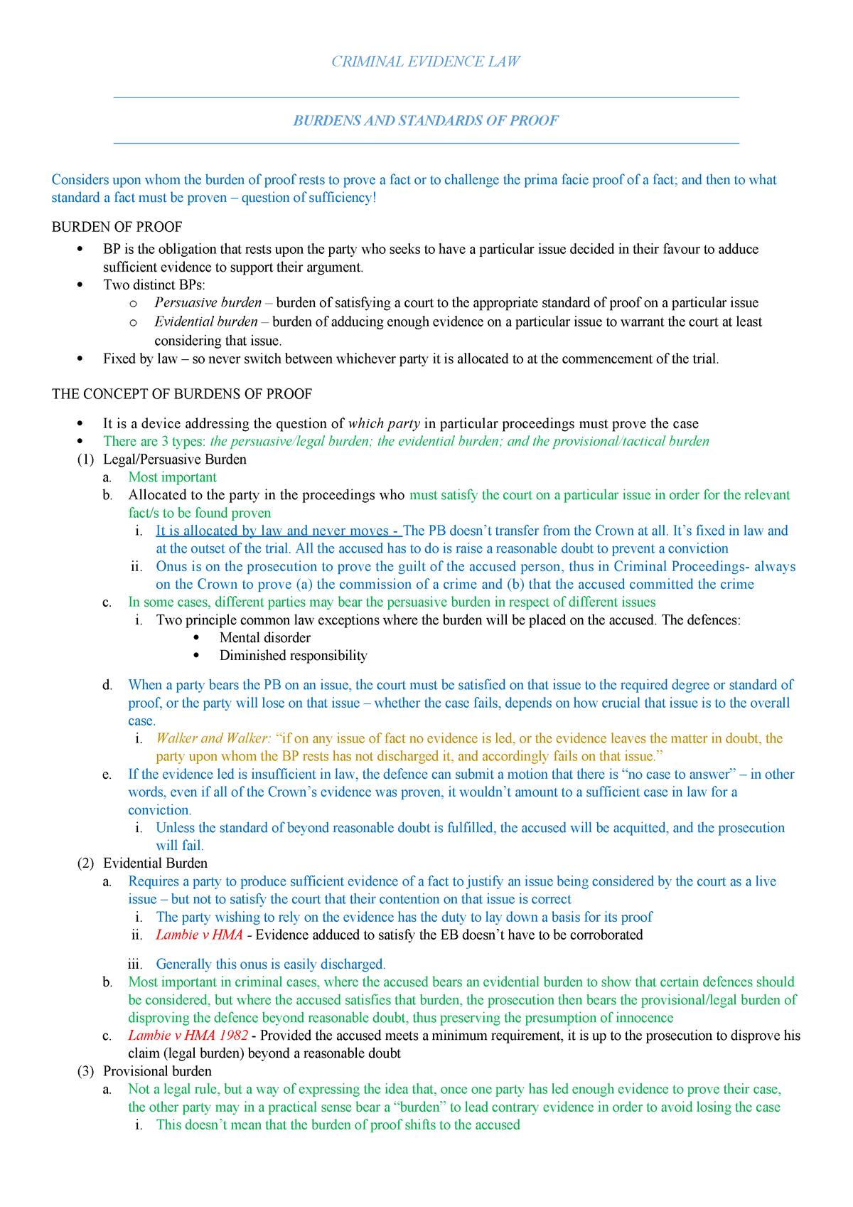 e91af05d Criminal Evidence Notes - LS3025: EVIDENCE - StuDocu